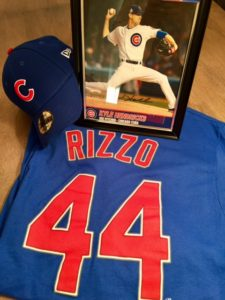 Gift basket #3: Chicago Cubs basket includes a SIGNED photo of #28 pitcher Kyle Hendricks, cancer SURVIVOR #44 Anthony Rizzo t-shirt size large, ...